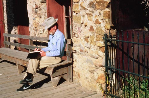 Taking notes in Virginia City during Montana's centennial